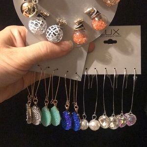 3 lux pairs of earrings